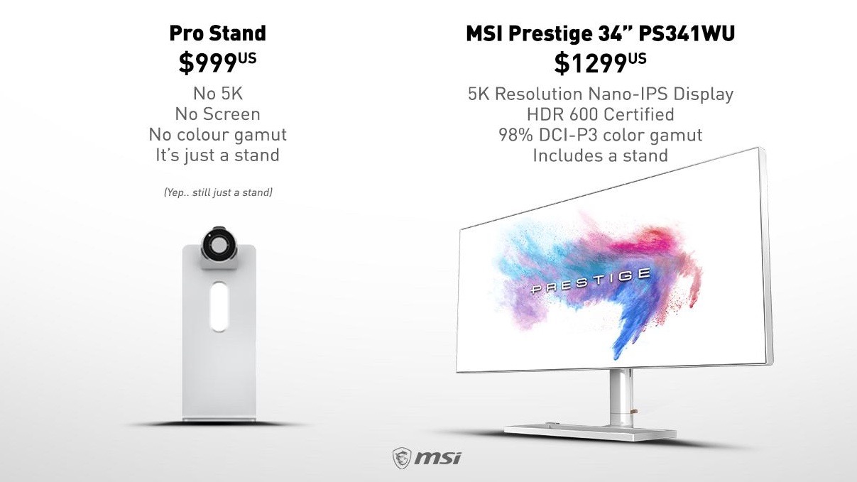 Display maker MSI mocks Apple's $999 Pro display stand with ad for its 5K display