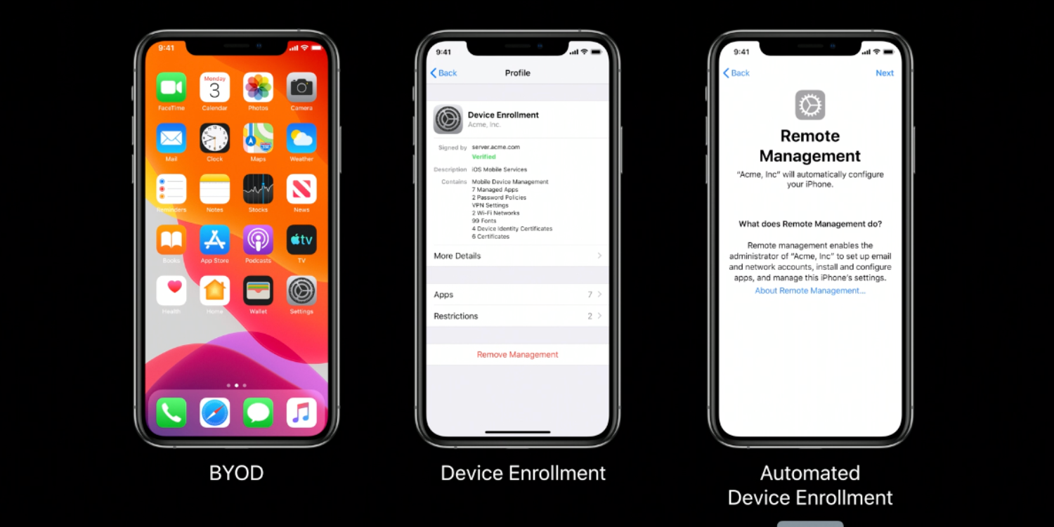 Changes to Device management in iOS 13, iPadOS 13, and macOS