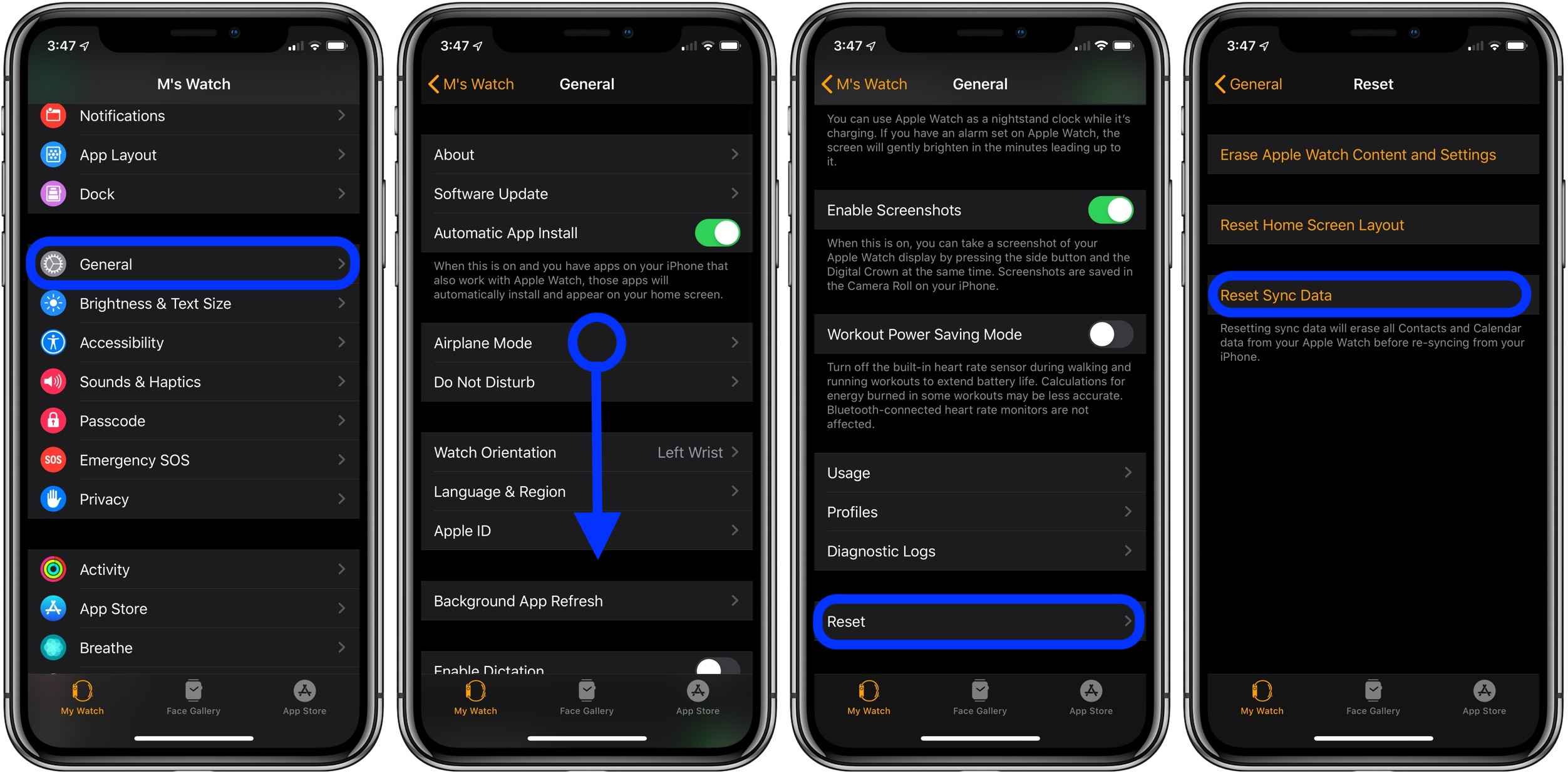 fix missing contacts Apple Watch