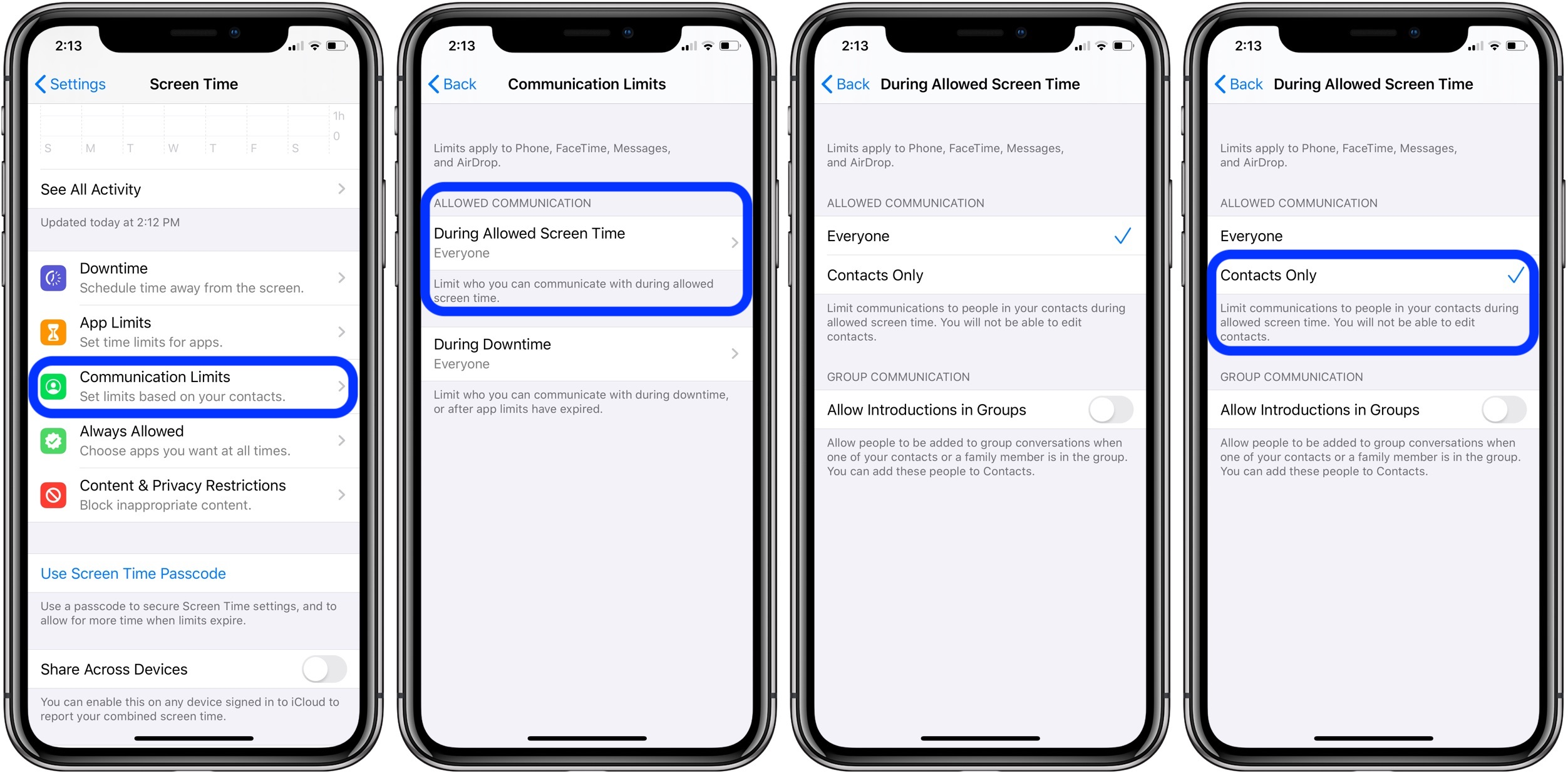 how to set communication limits kids iPhone iOS 13