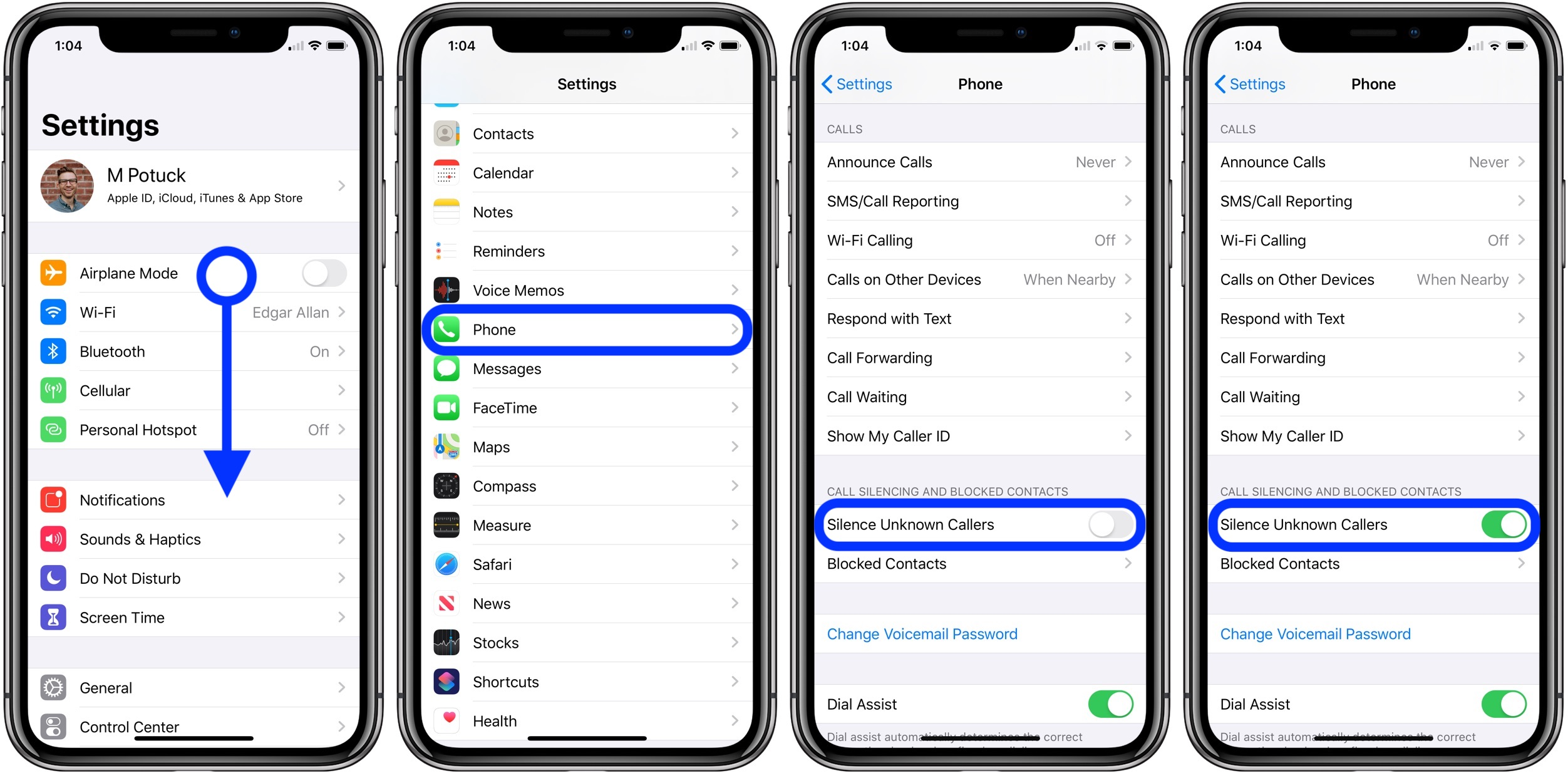 how to silence unknown and spam calls iPhone iOS 13