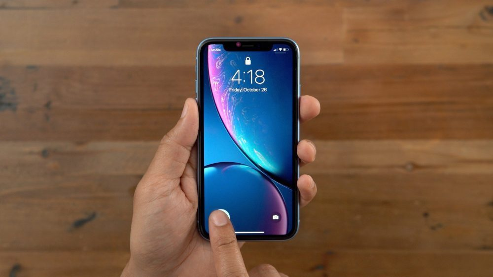 iPhone XR showing haptic touch