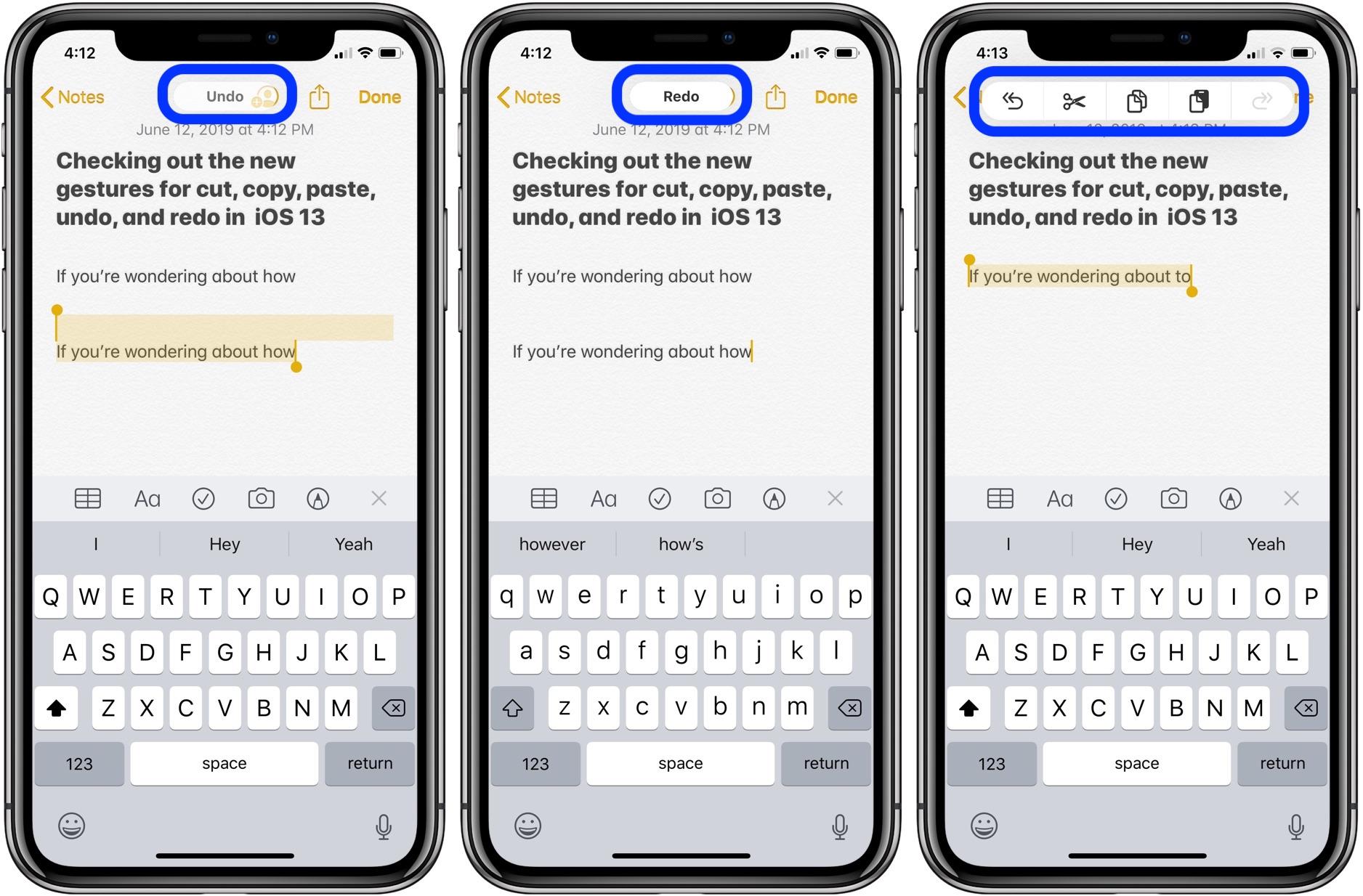 iOS 13:如何在 iPhone 和 iPad 上 使用手势进行剪切,复制等操作?