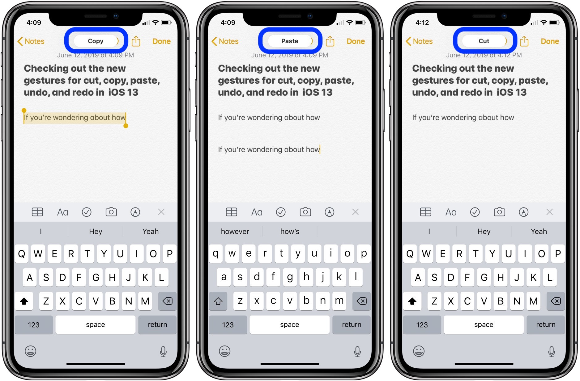 How to use gestures for undo, cut, copy, and paste in iOS 13
