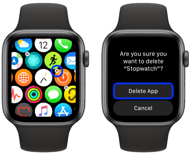delete built-in apps Apple Watch
