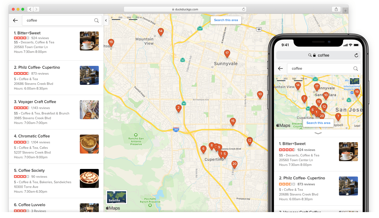 DuckDuck Go Apple Maps re-querying