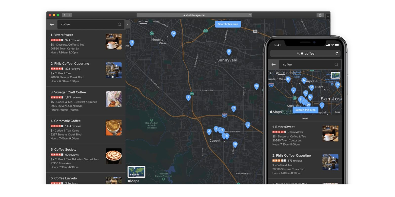 DuckDuckGo's Apple Maps integration now supports dark mode, re-querying, more