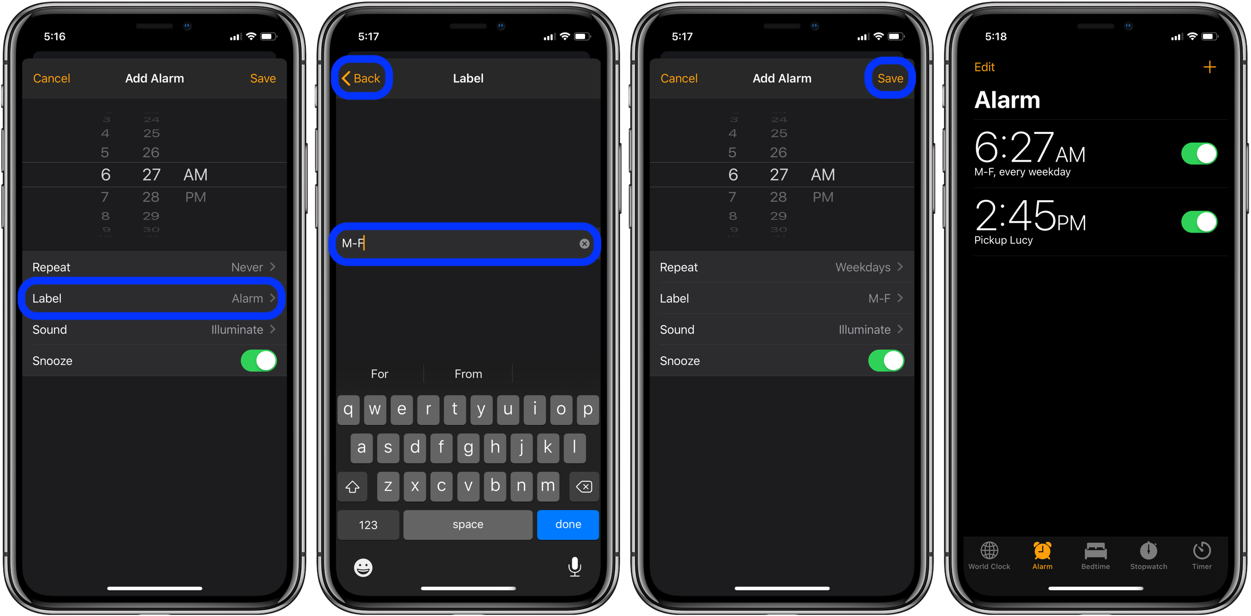 How to create repeating scheduled alarms on iPhone walkthrough