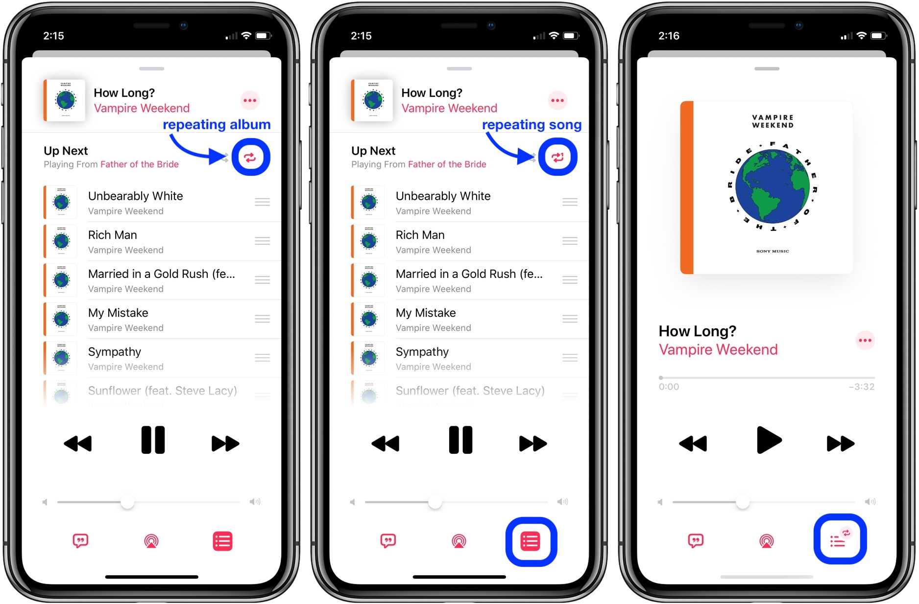 How to repeat song or album iOS 13 iPhone iPad walkthrough 2
