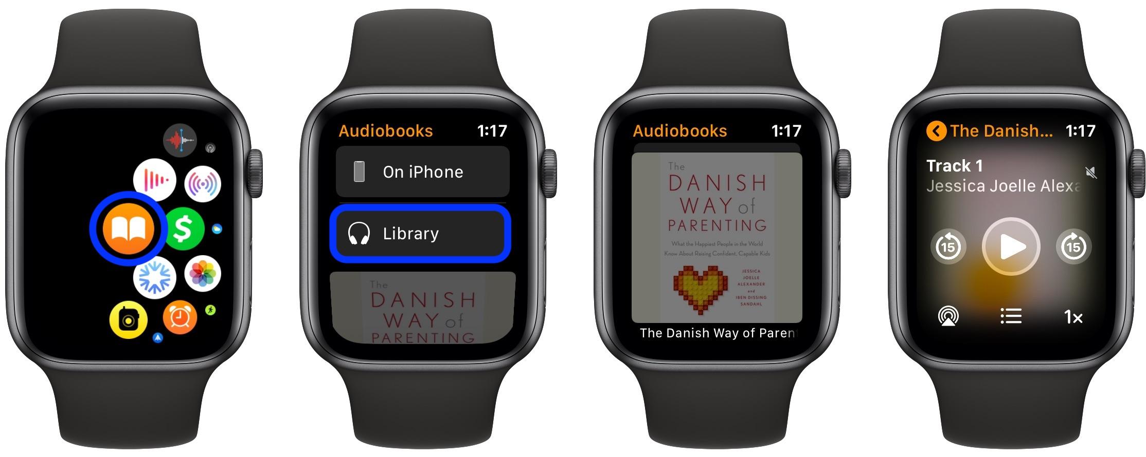 Stream Play Apple Books audiobooks Apple Watch