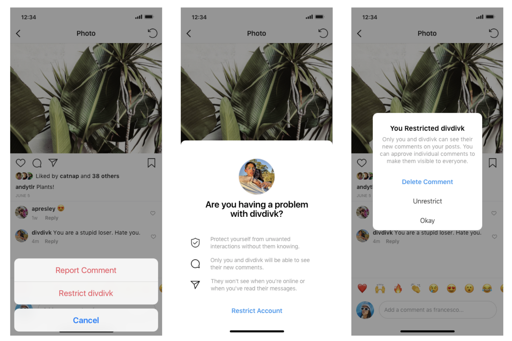 Instagram offensive comments bullying restrictions