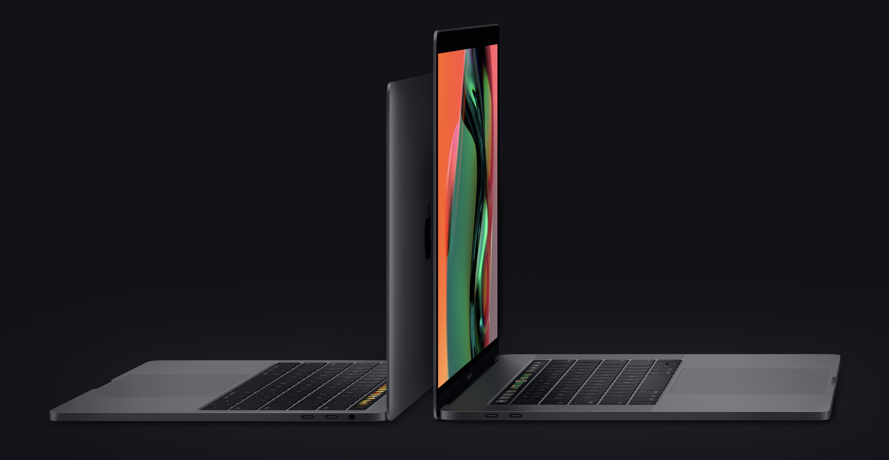 MacBook Pro notebooks back to back