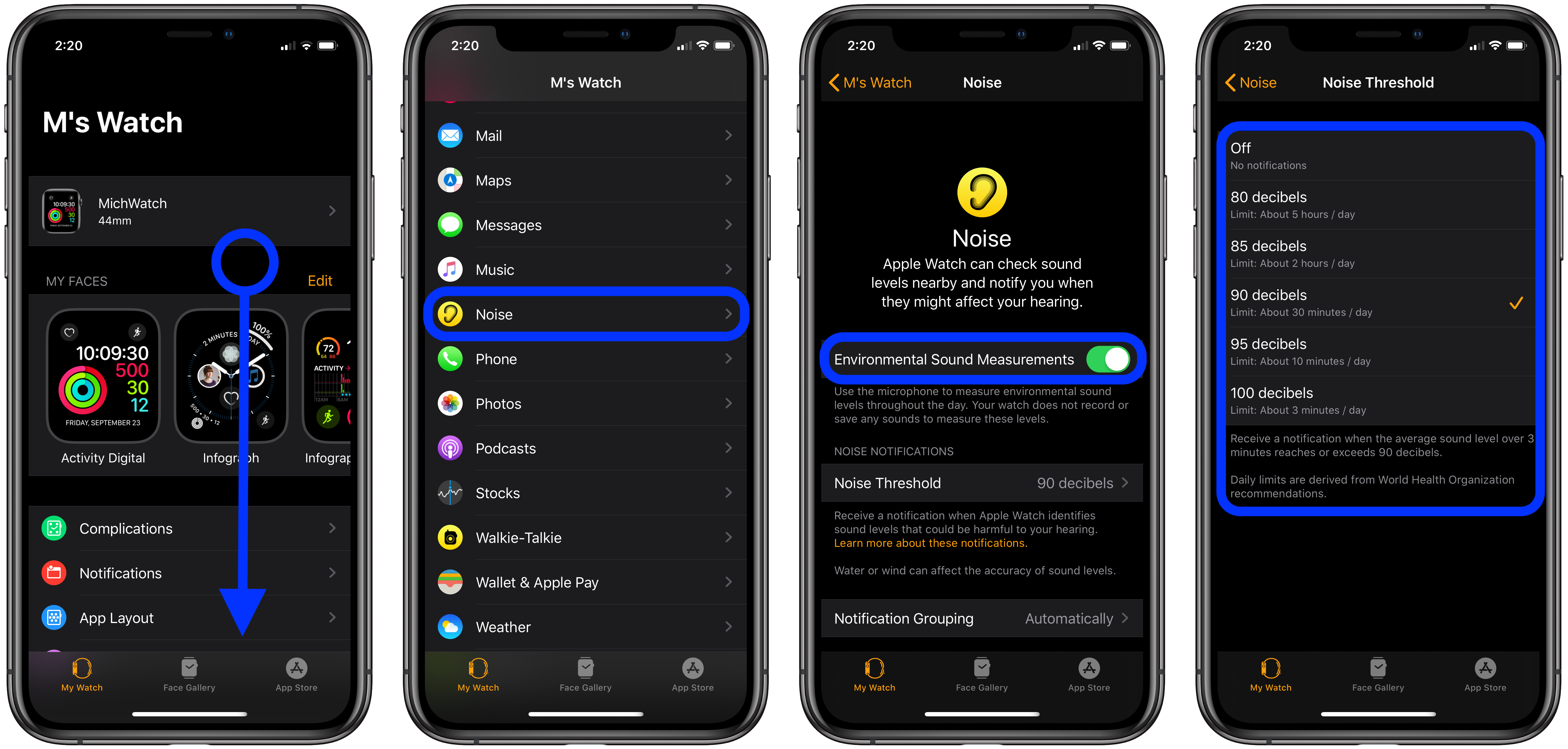 how to customize or disable noise alerts Apple Watch