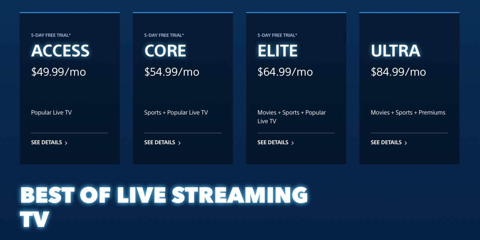 PlayStation Vue ups all Live TV streaming plans by $5 - 9to5Mac