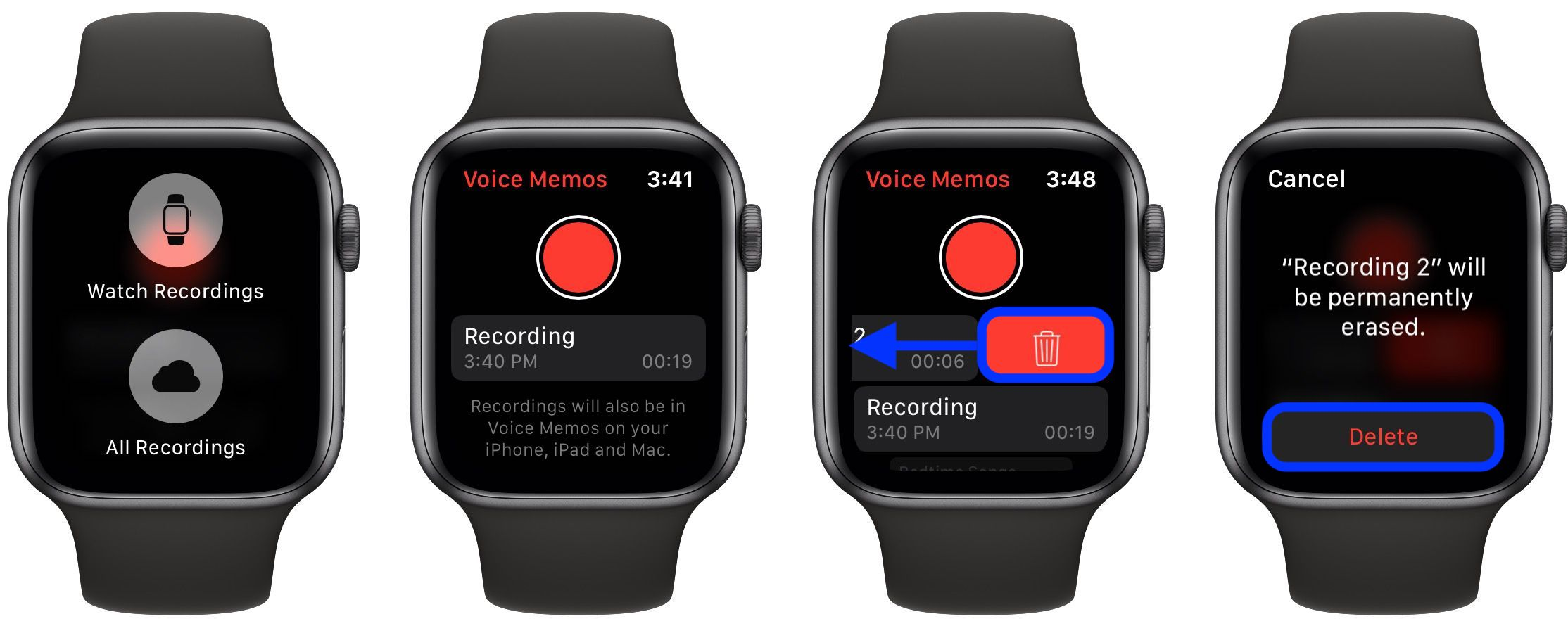 how to record Voice Memos Apple Watch