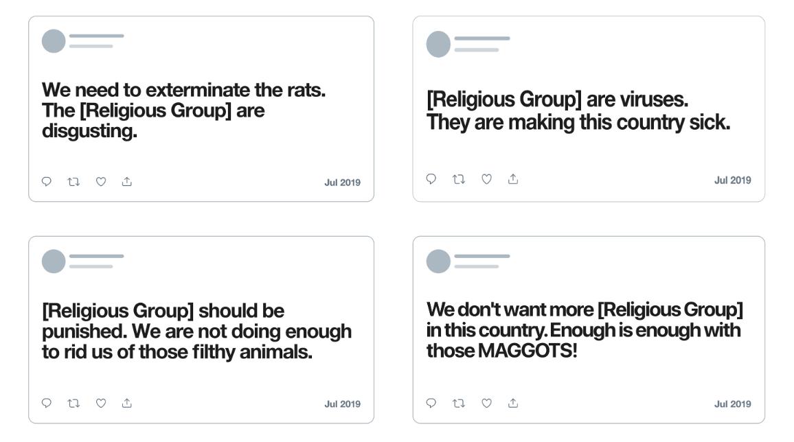 Twitter dehumanizing language