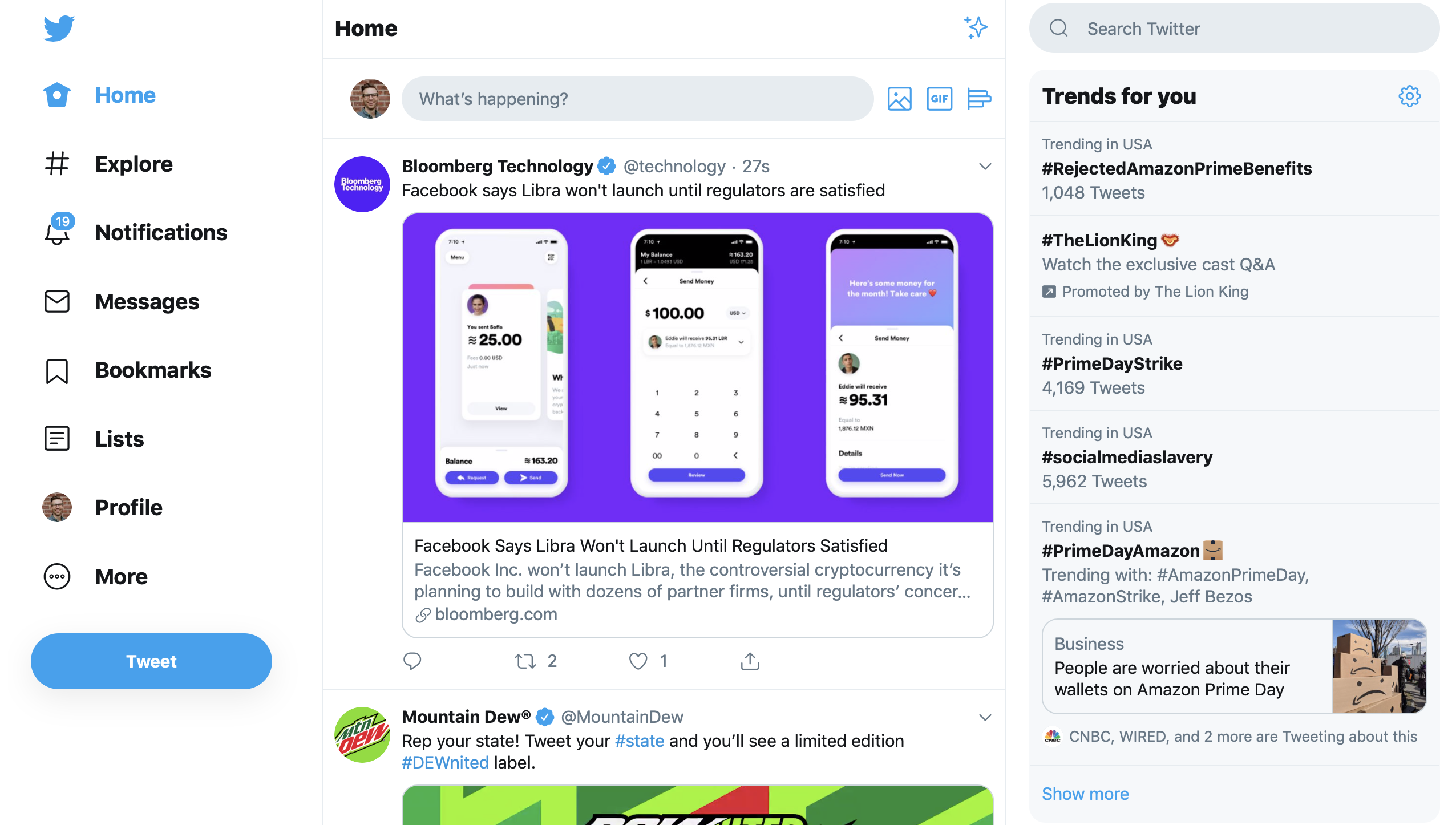 Twitter design night mode web