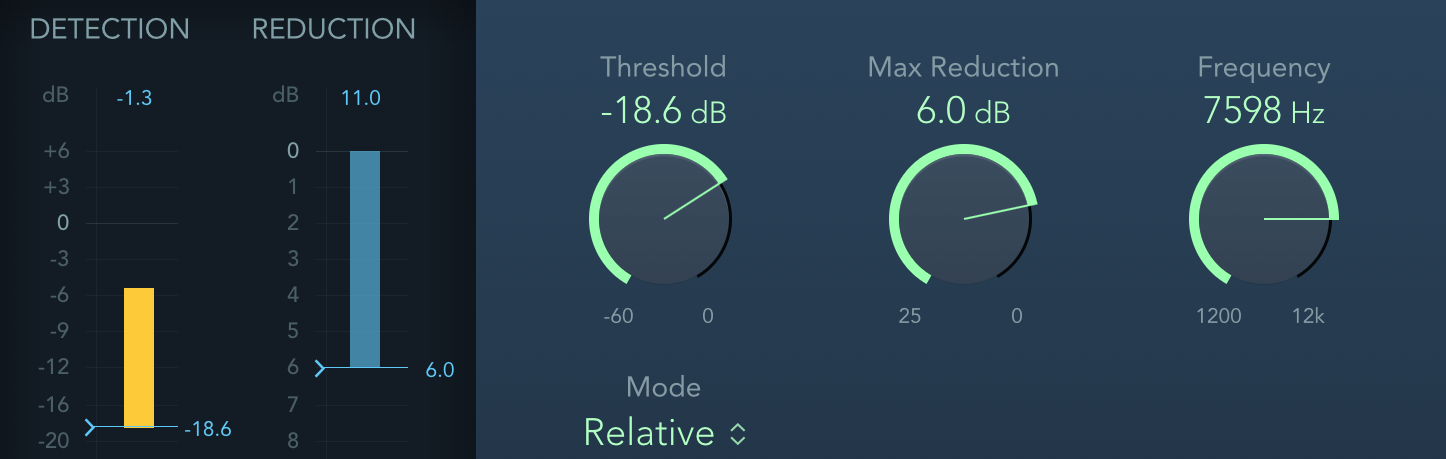 DeEsser 2 - Threshold, Max Reduction, Frequency
