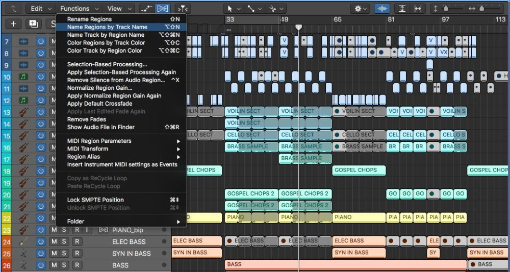 Logic Pros-Name Regions by Track
