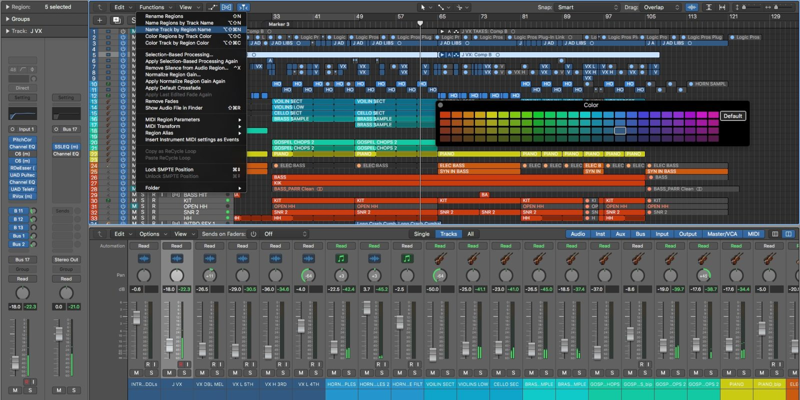 Logic Pros: One click solutions to naming regions in Logic, color coding, more