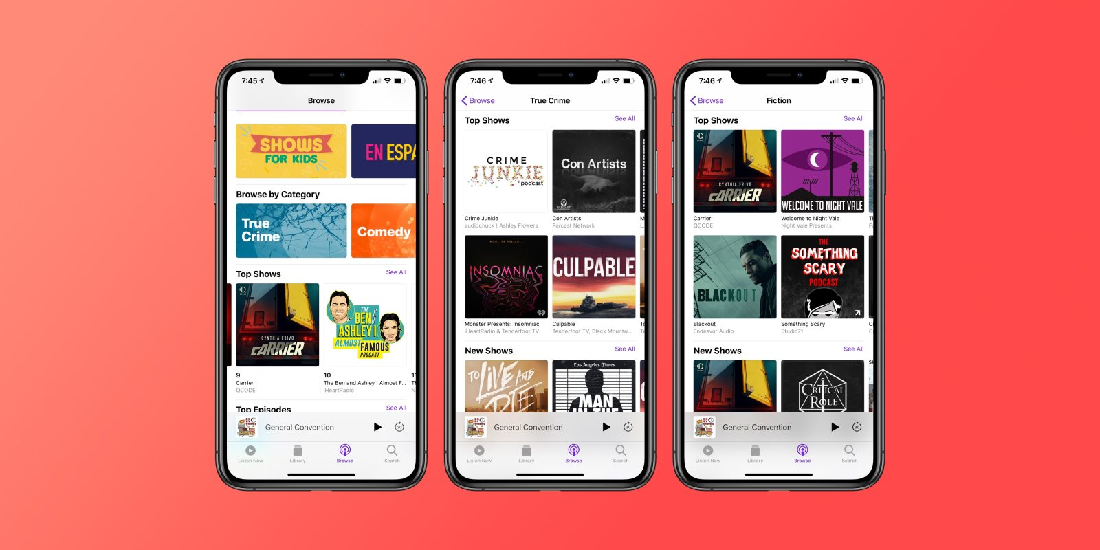 Apple Podcasts adds new top-level categories with charts, curation
