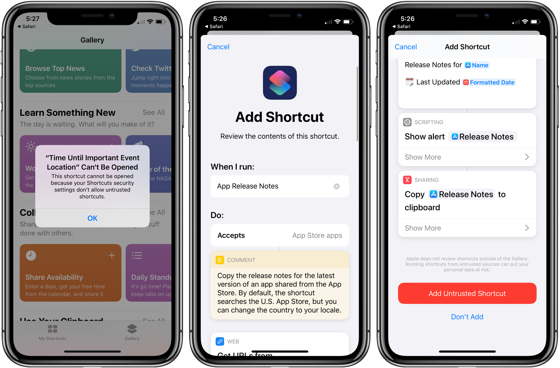 iOS 13: How to allow 'Untrusted Shortcuts' in your library