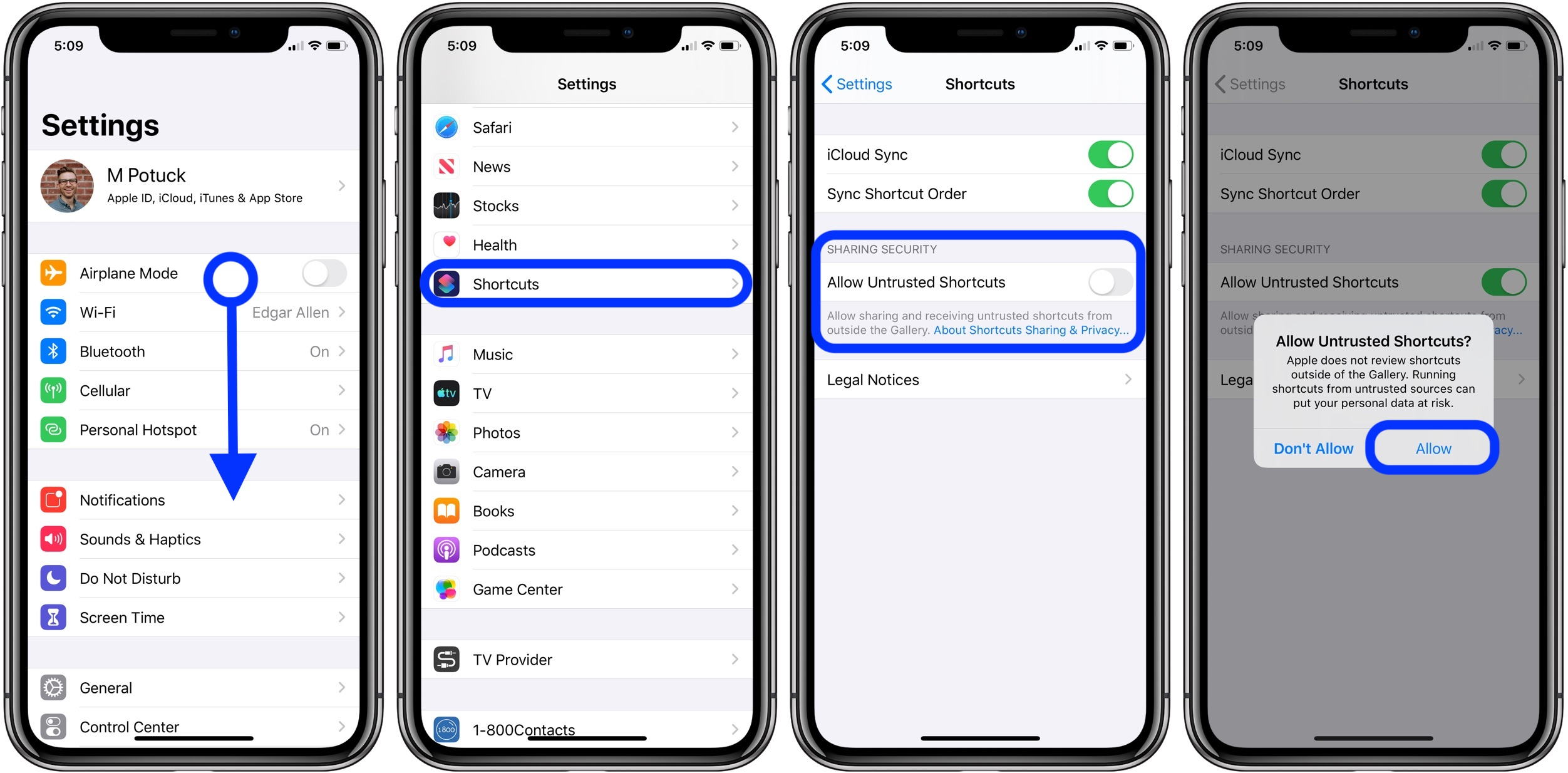 How to allow Untrusted Shortcuts iOS 13
