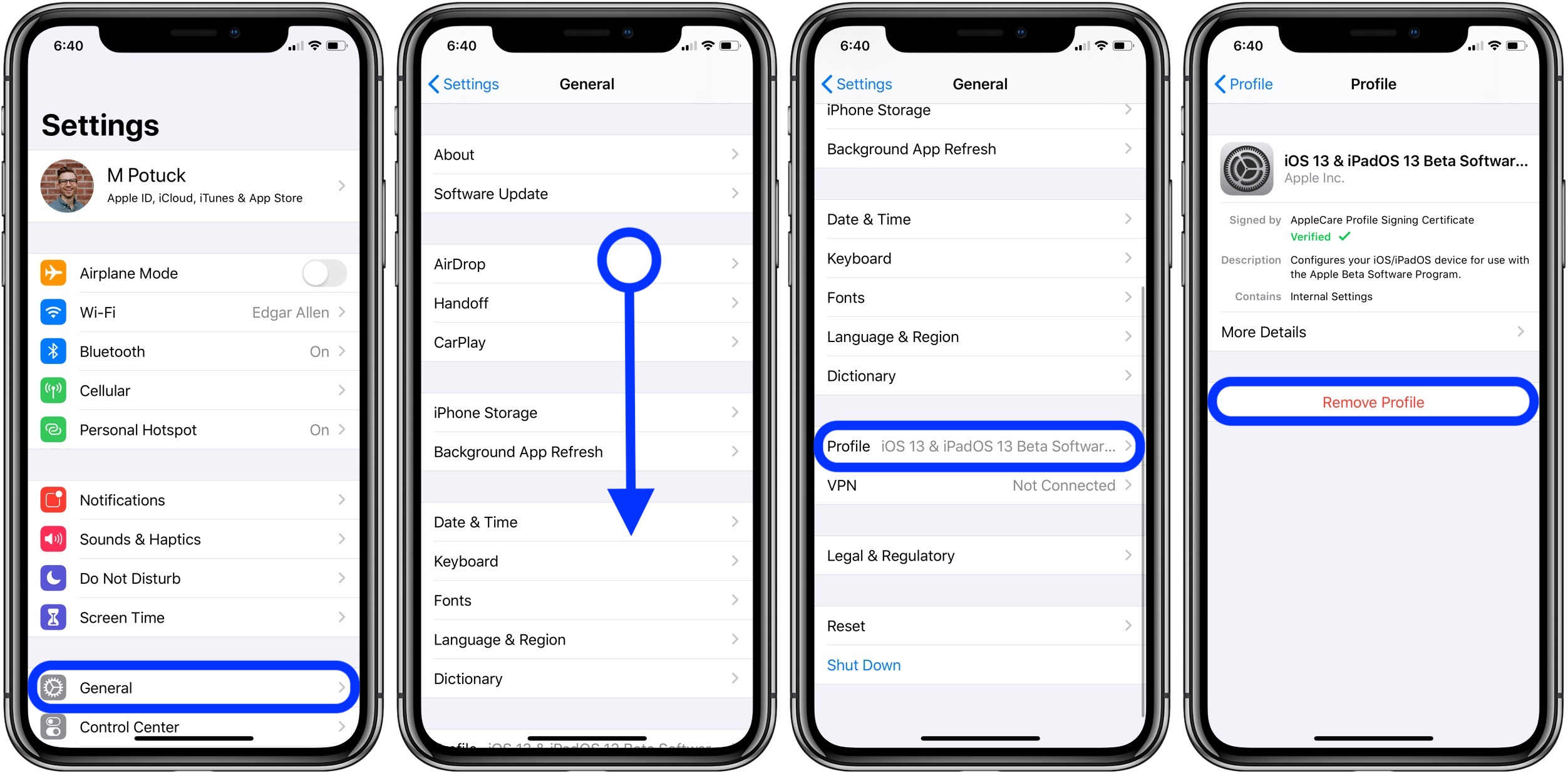 remove iOS iPhone configuration profile
