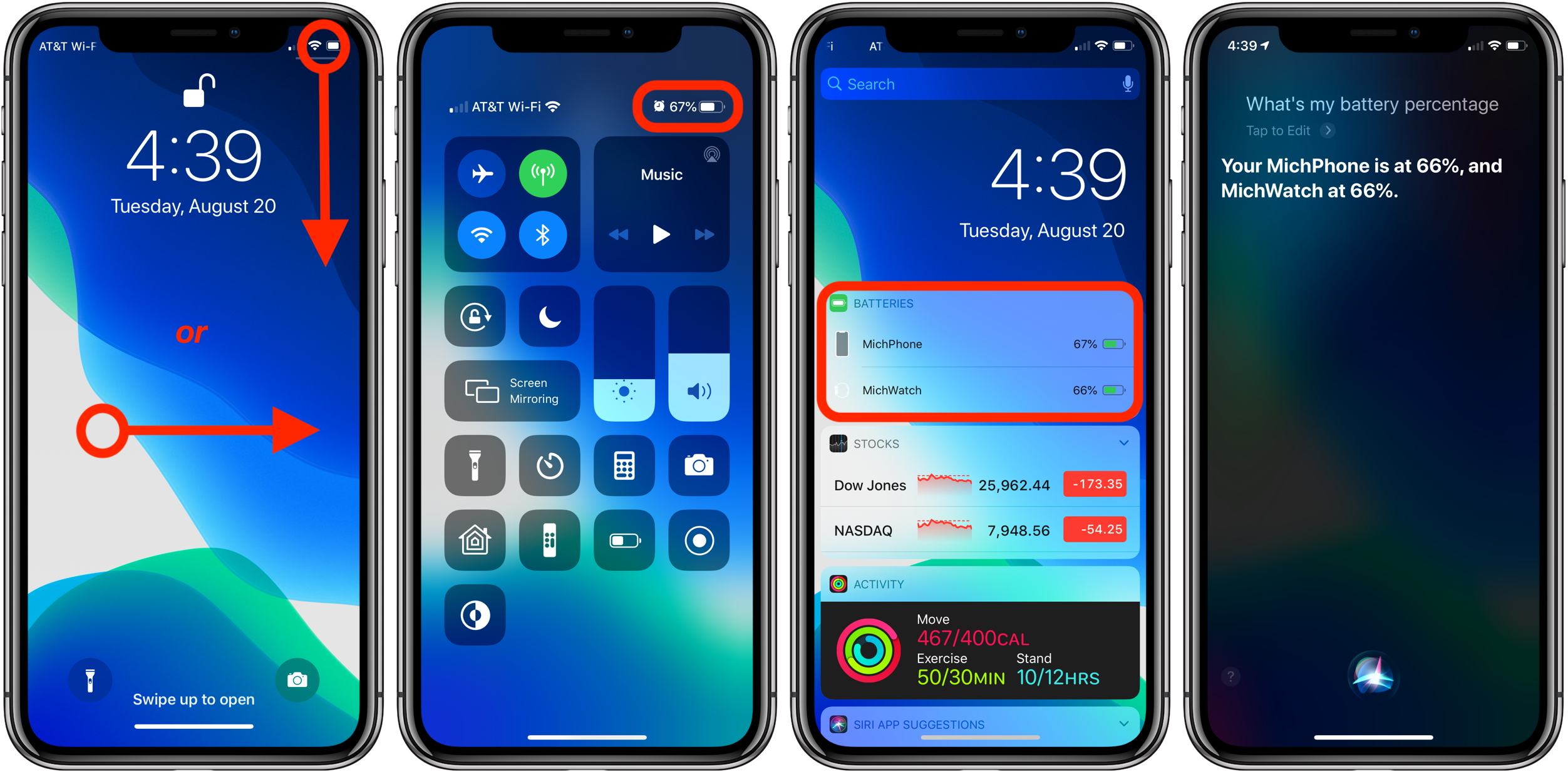 How to show battery percentage iPhone X, XR, XS