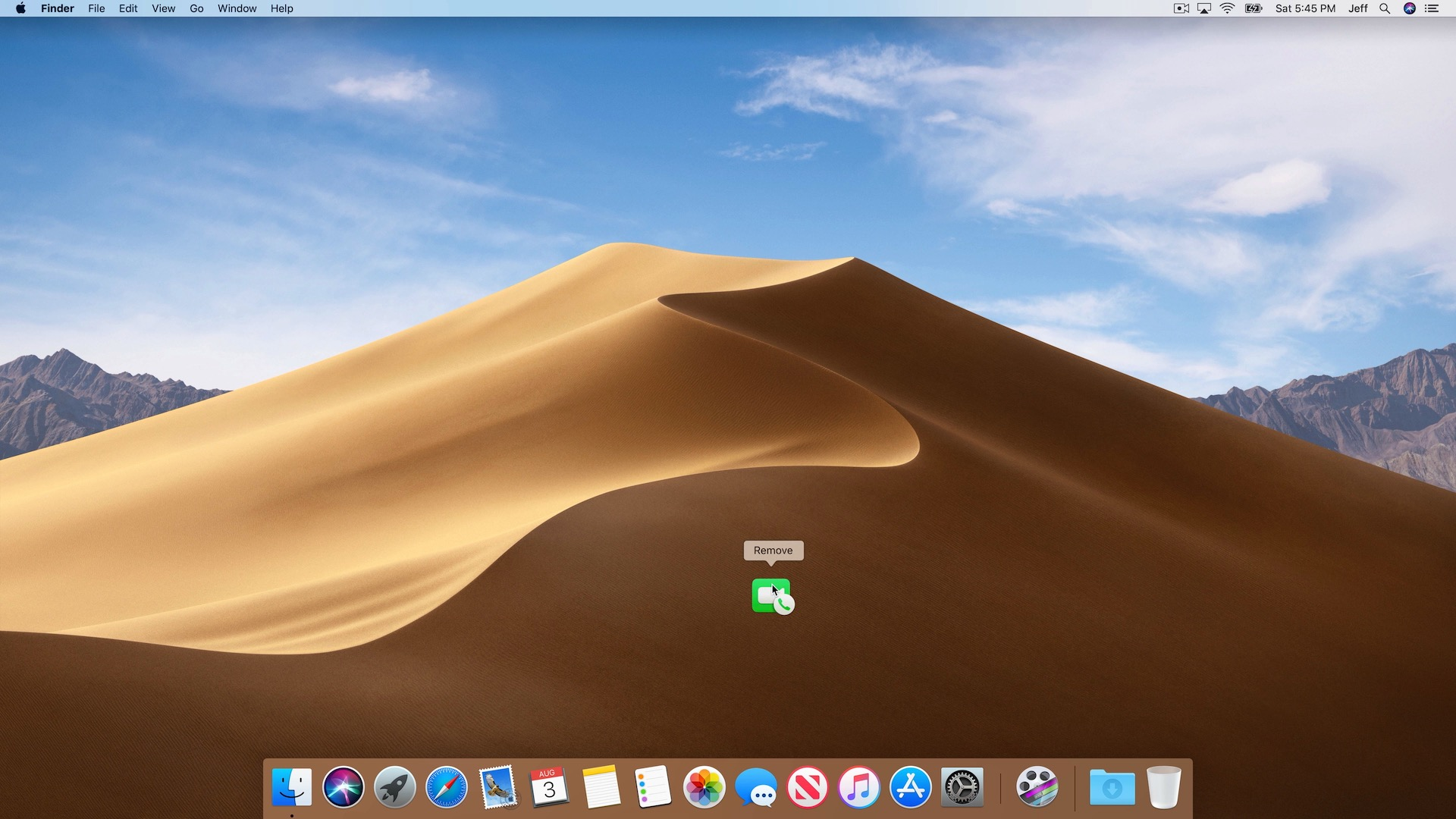 Removing apps from the Dock on Mac