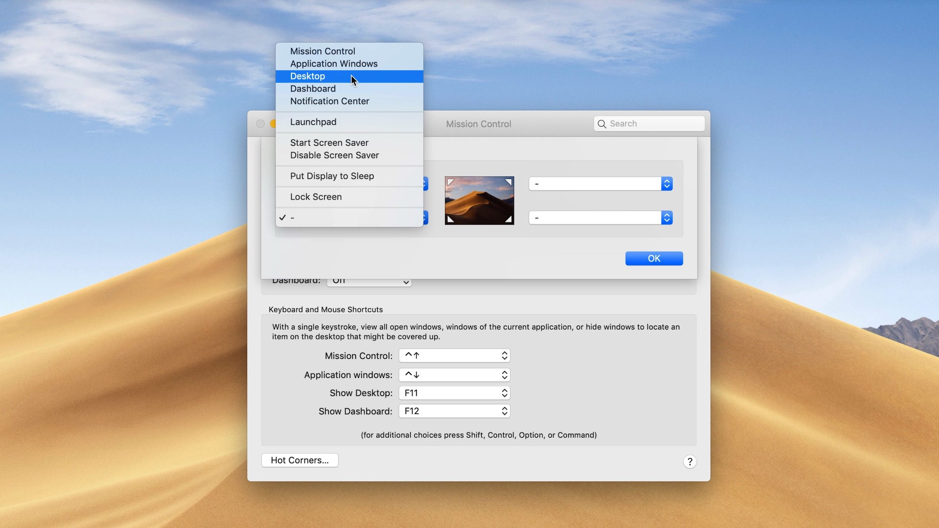 Enable hot corner in macOS