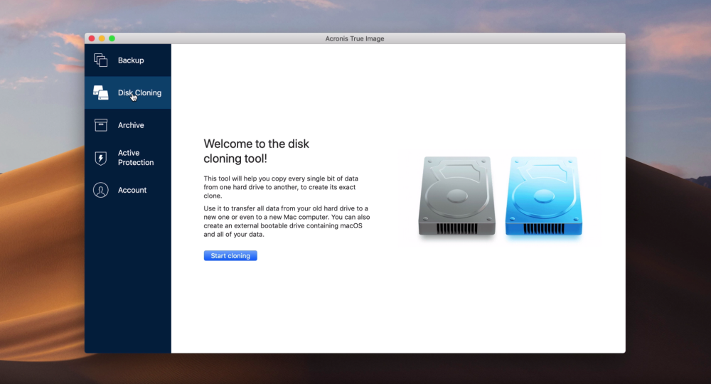 Using Acronis True Image 2019 for disk cloning, automatic