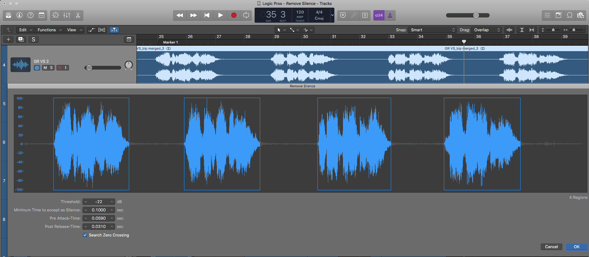 How to access Remove Silence in Logic
