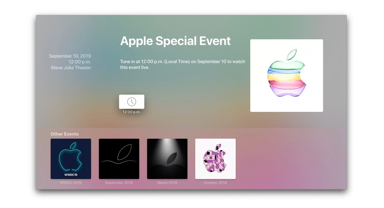 Apple Events app for tvOS updated ahead of iPhone 11 unveil stream
