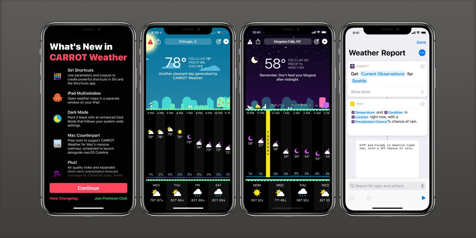 Carrot Weather gains support for iOS 13 Dark Mode, iPad multiwindow, independent Apple Watch app, more