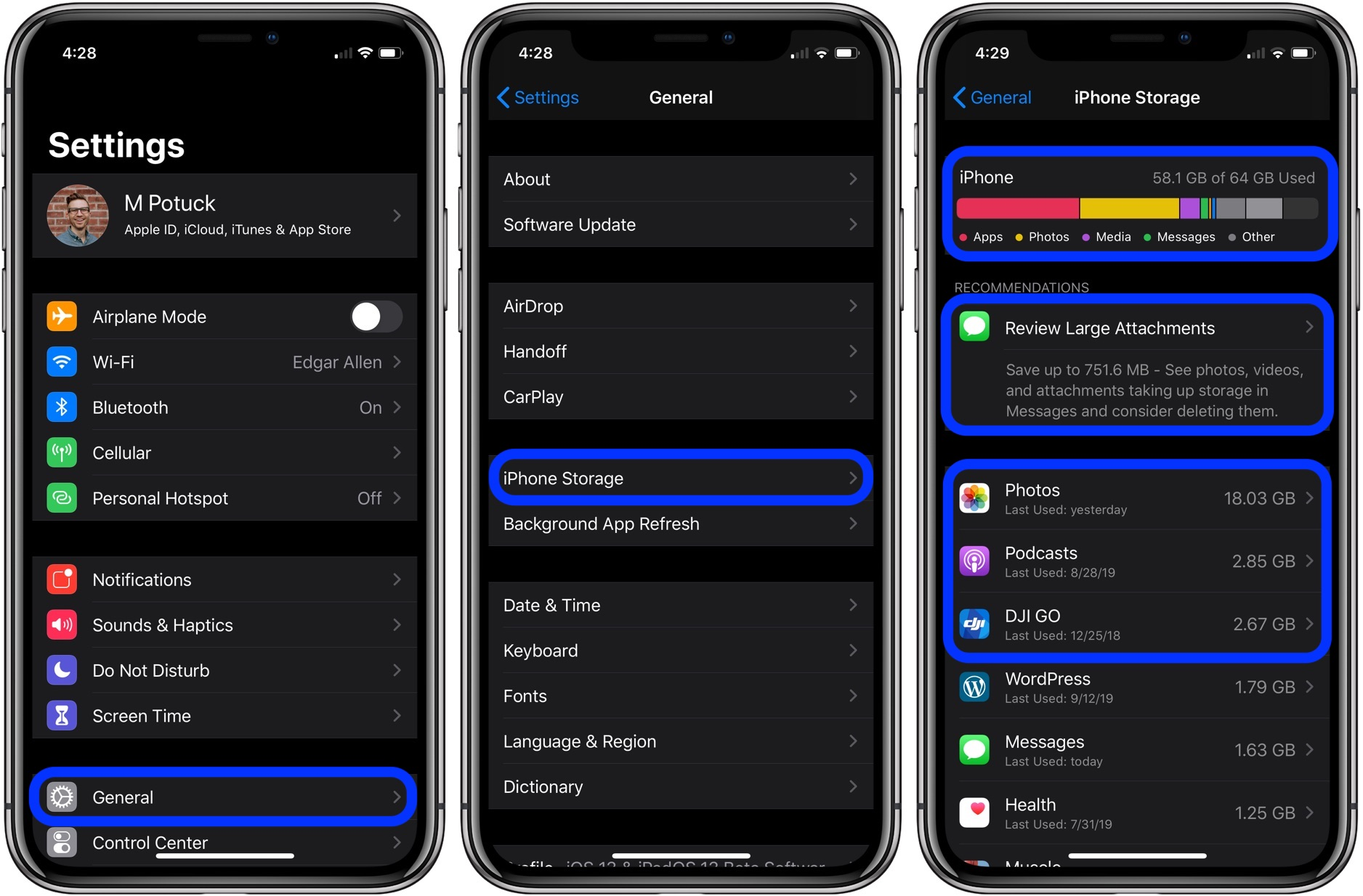 check iPhone storage before buying new iPhone 11