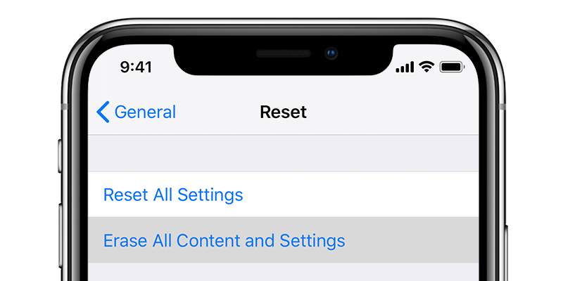 Erase content and settings