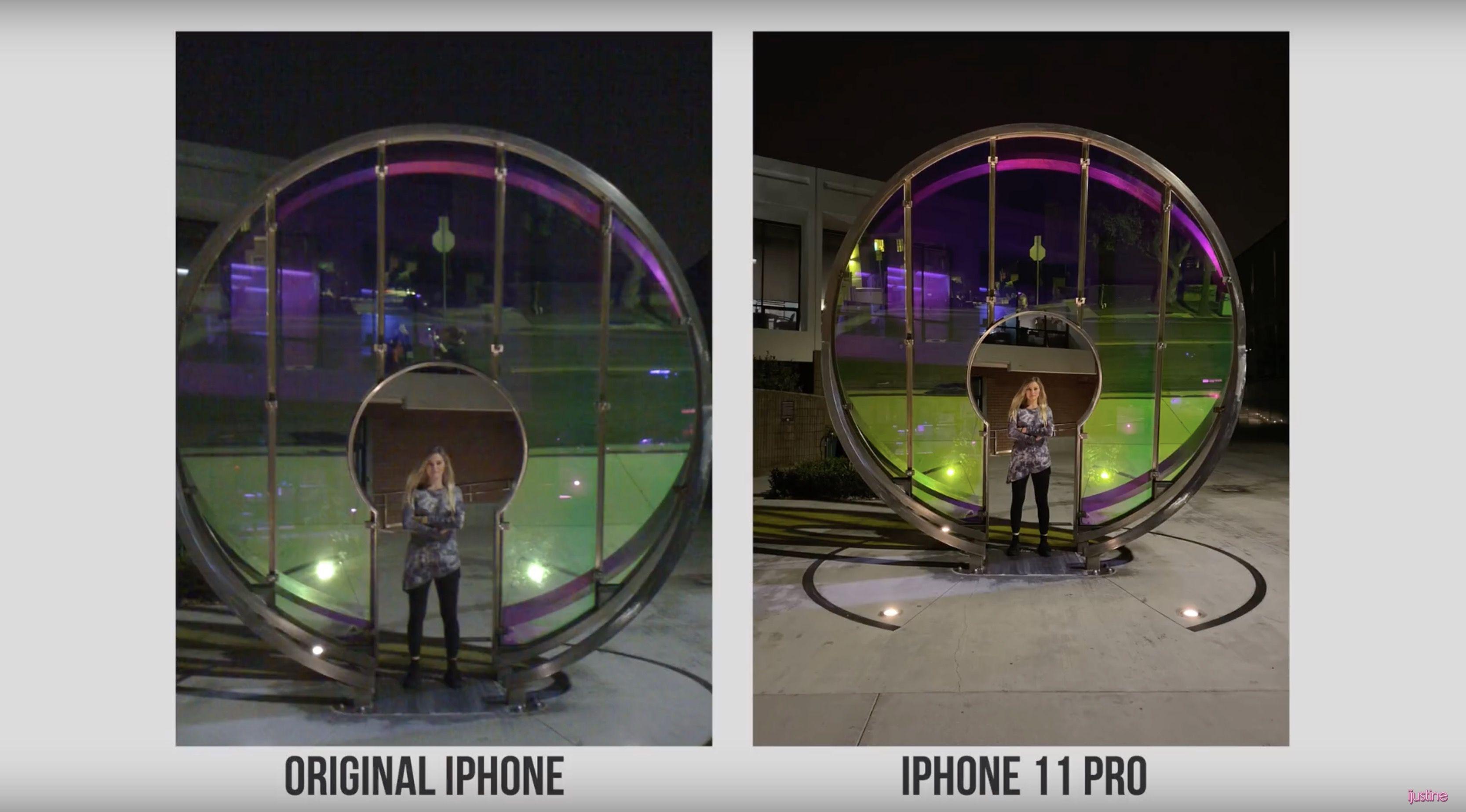 iPhone 11 Pro camera vs. original iPhone night shot