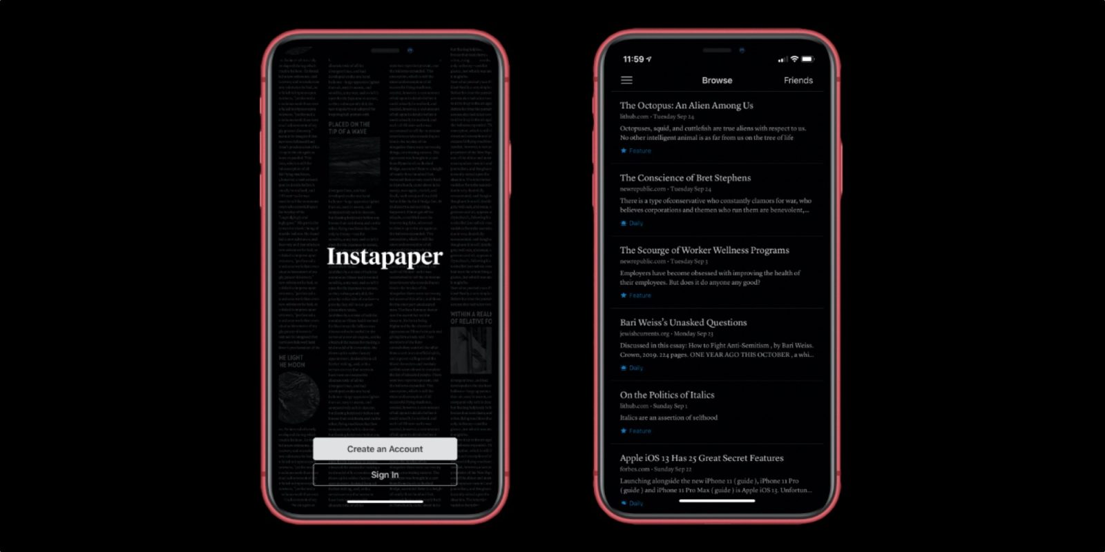 Instapaper for iOS adds Dark Mode support, expanded 'Tweet Shot' feature