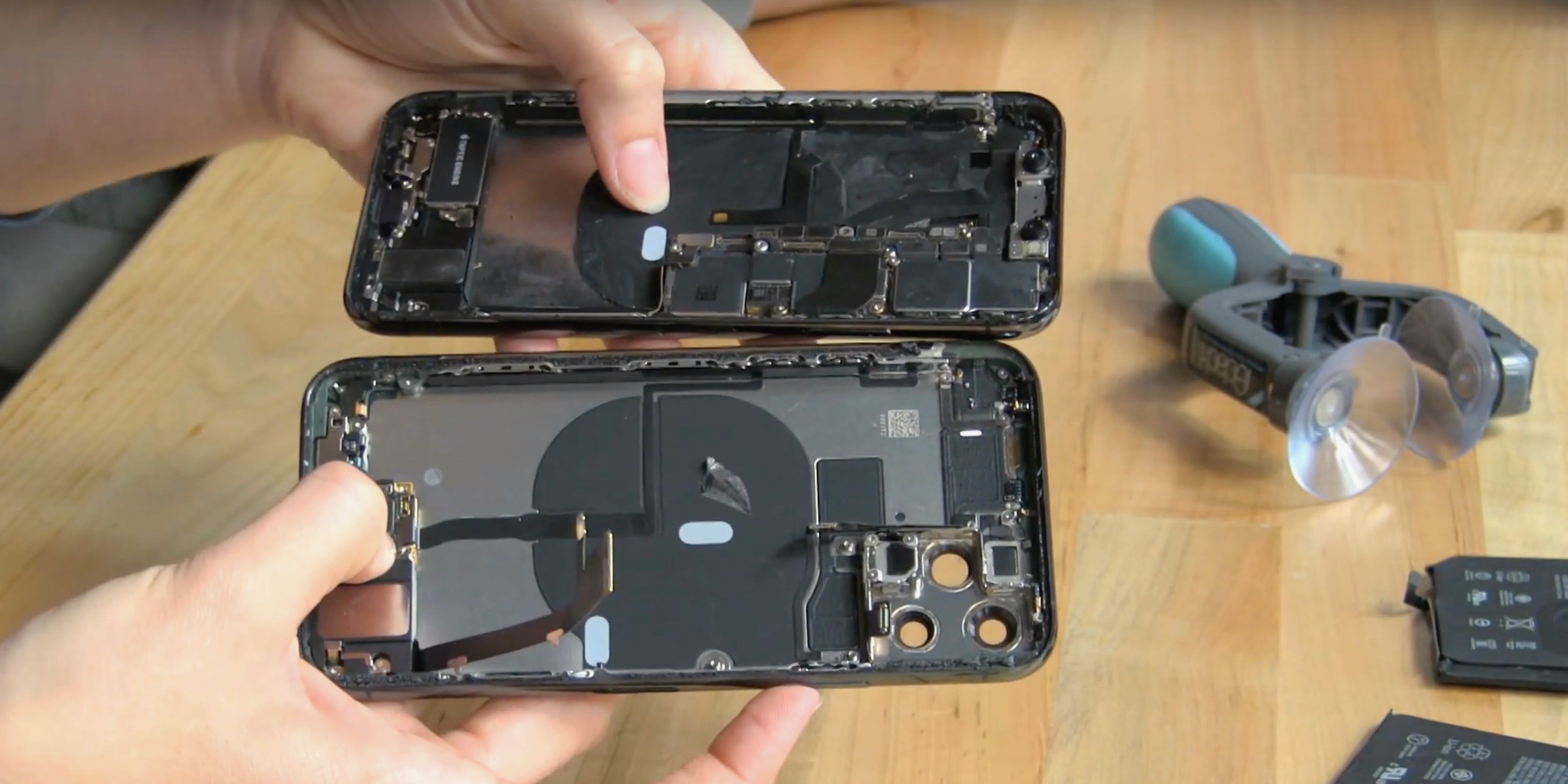 iPhone 11 Pro teardown reveals new board under battery, possibly for  bilateral wireless charging - 9to5Mac