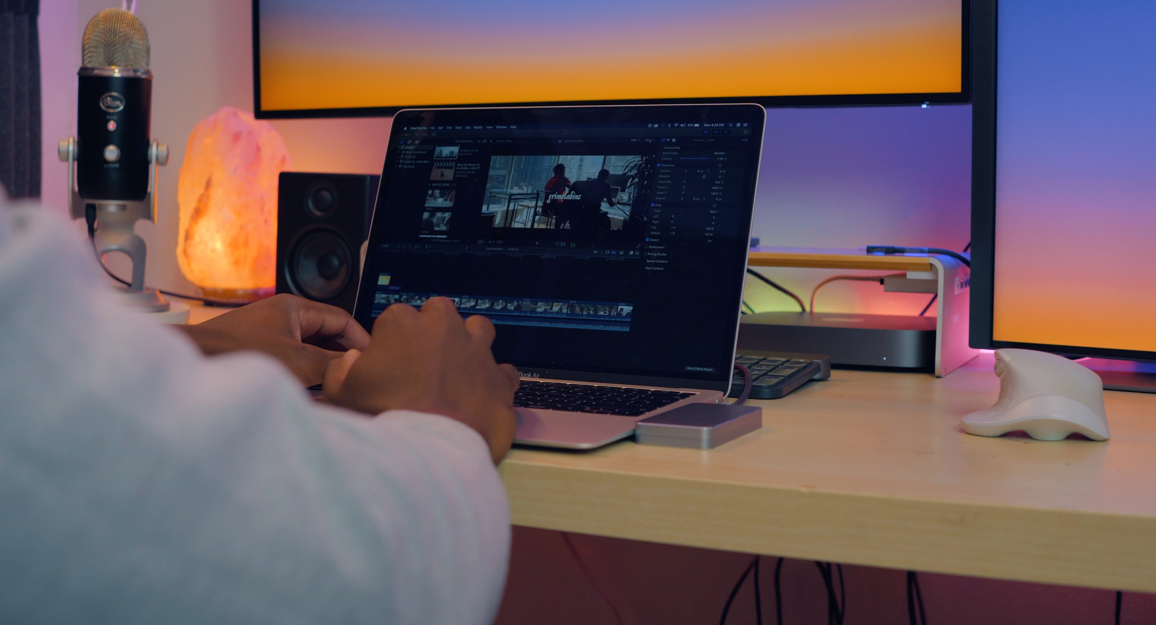 MacBook Air on a desktop