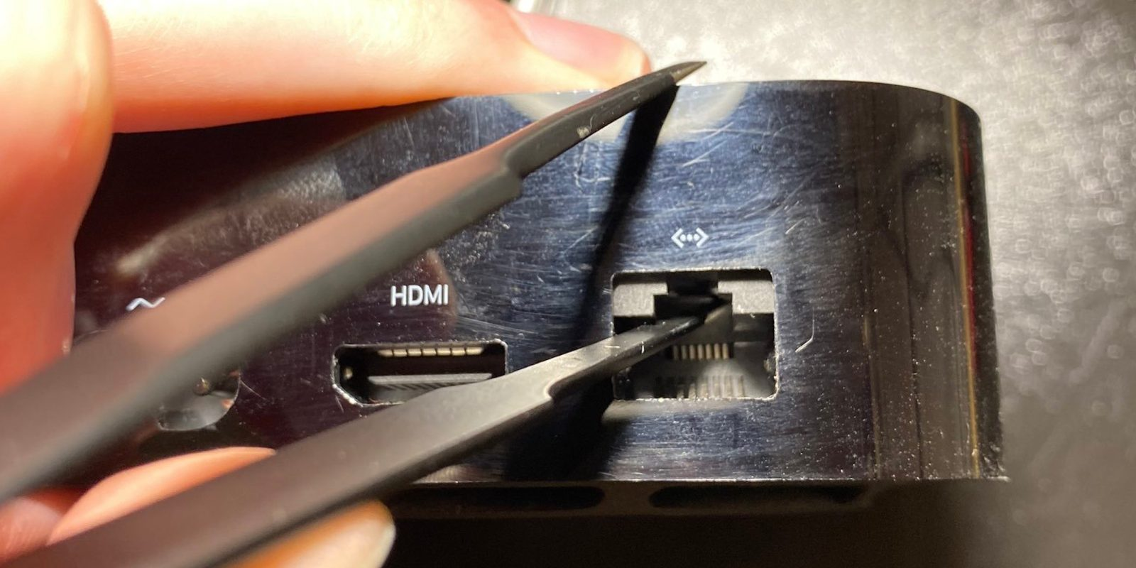 Apple hid a Lightning connector for debugging in the Apple TV 4K's ethernet port