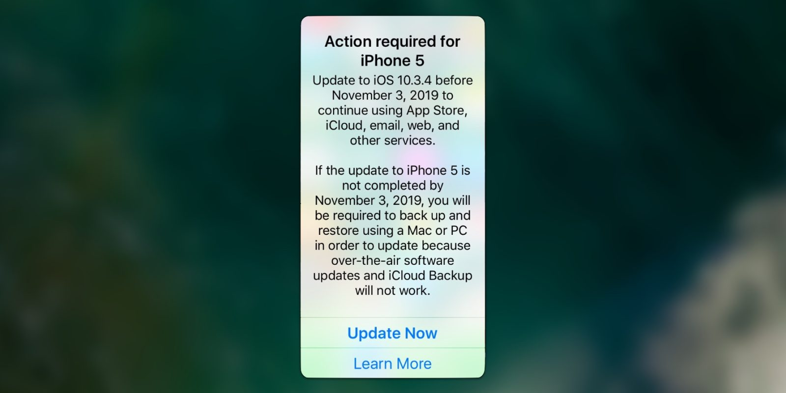 Still using an iPhone 5? iOS 10.3.4 is required to keep your phone working