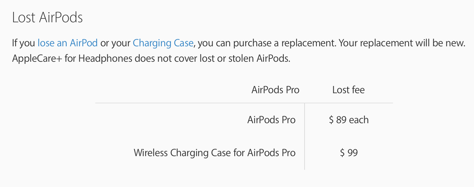 AirPods Pro lost replacement costs