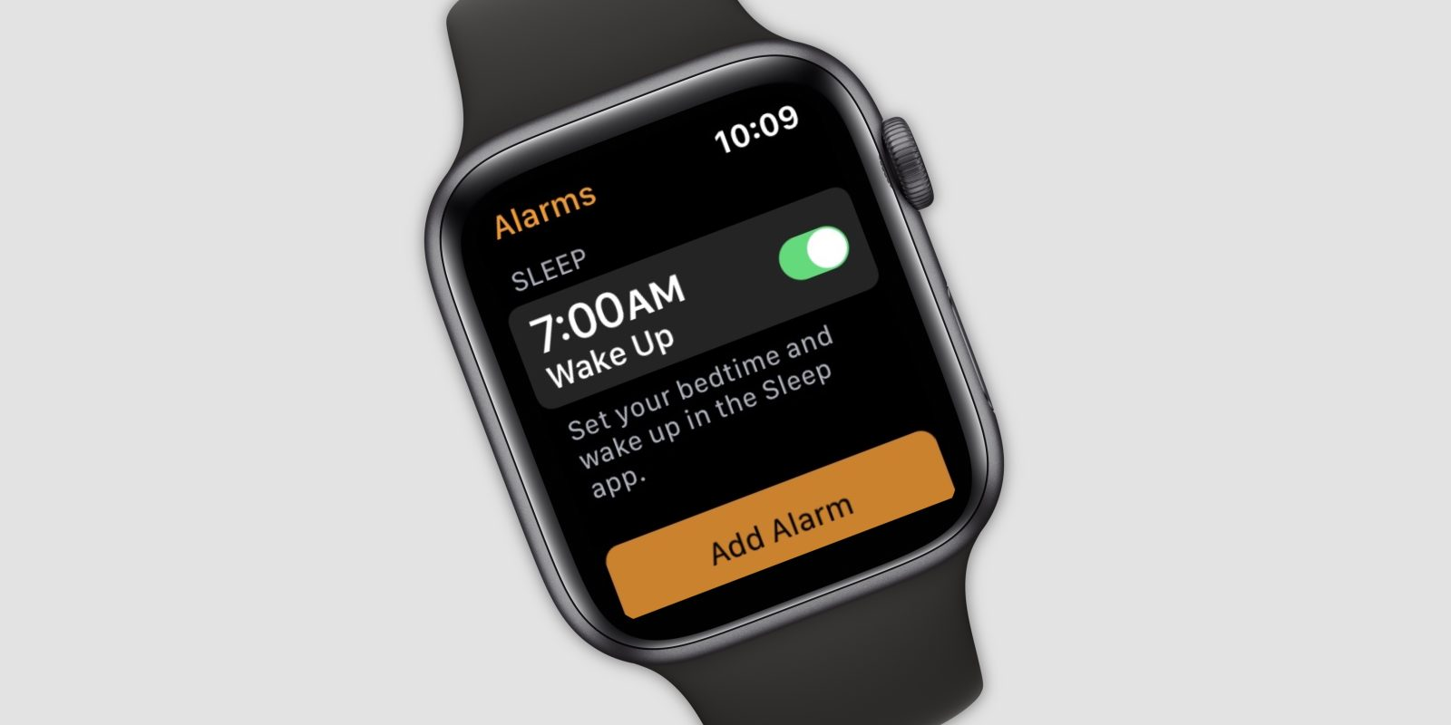 Official Apple Watch Sleep app accidentally mentioned in Alarms app screenshot