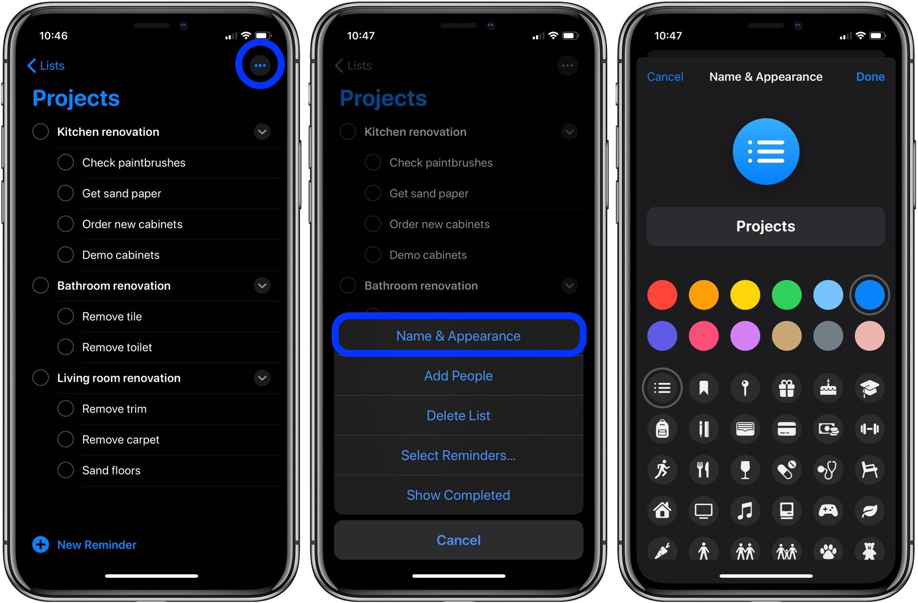 How to change icons and colors Reminders Lists iPhone iPad walkthrough 1
