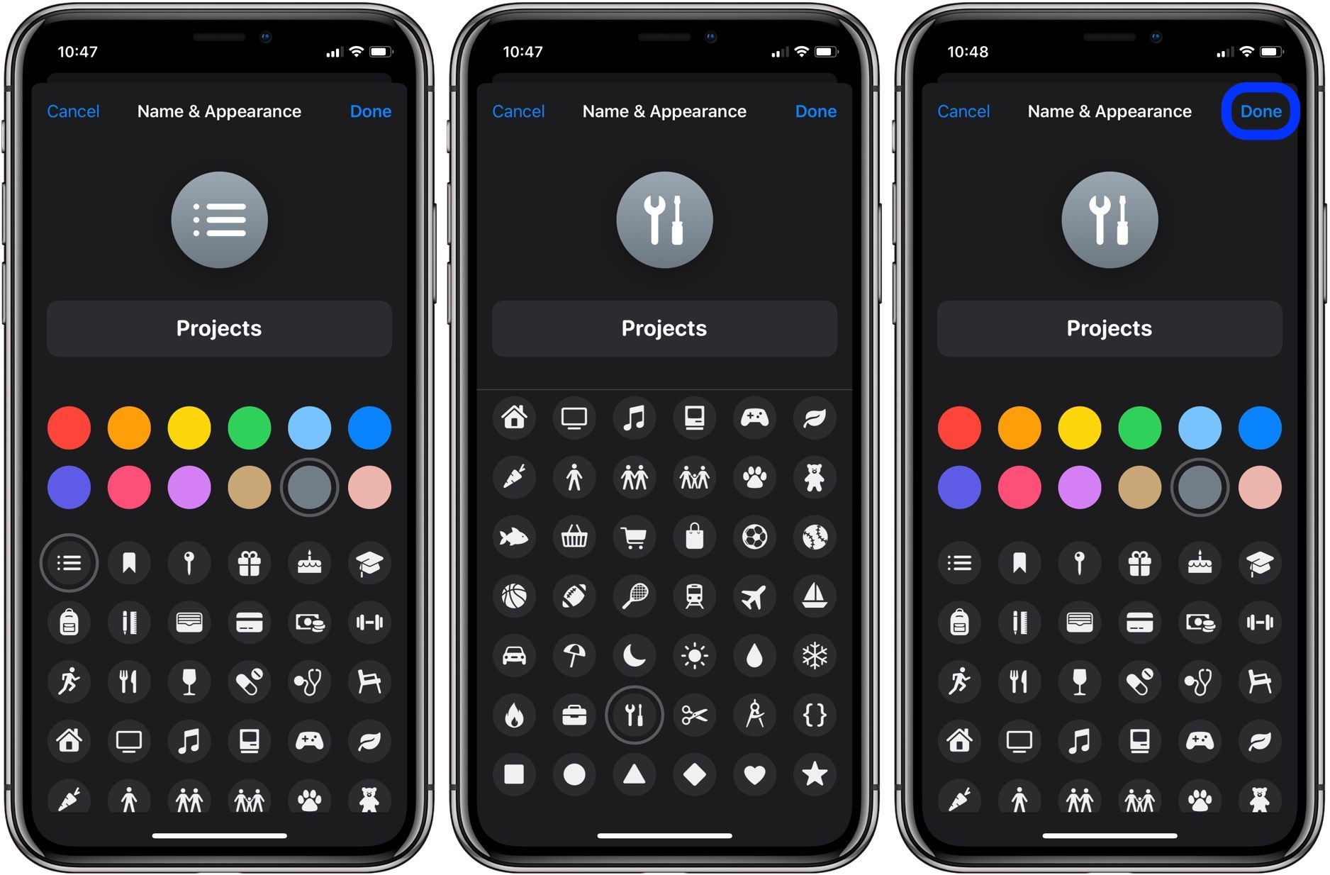 How to change icons and colors Reminders Lists iPhone iPad walkthrough 2
