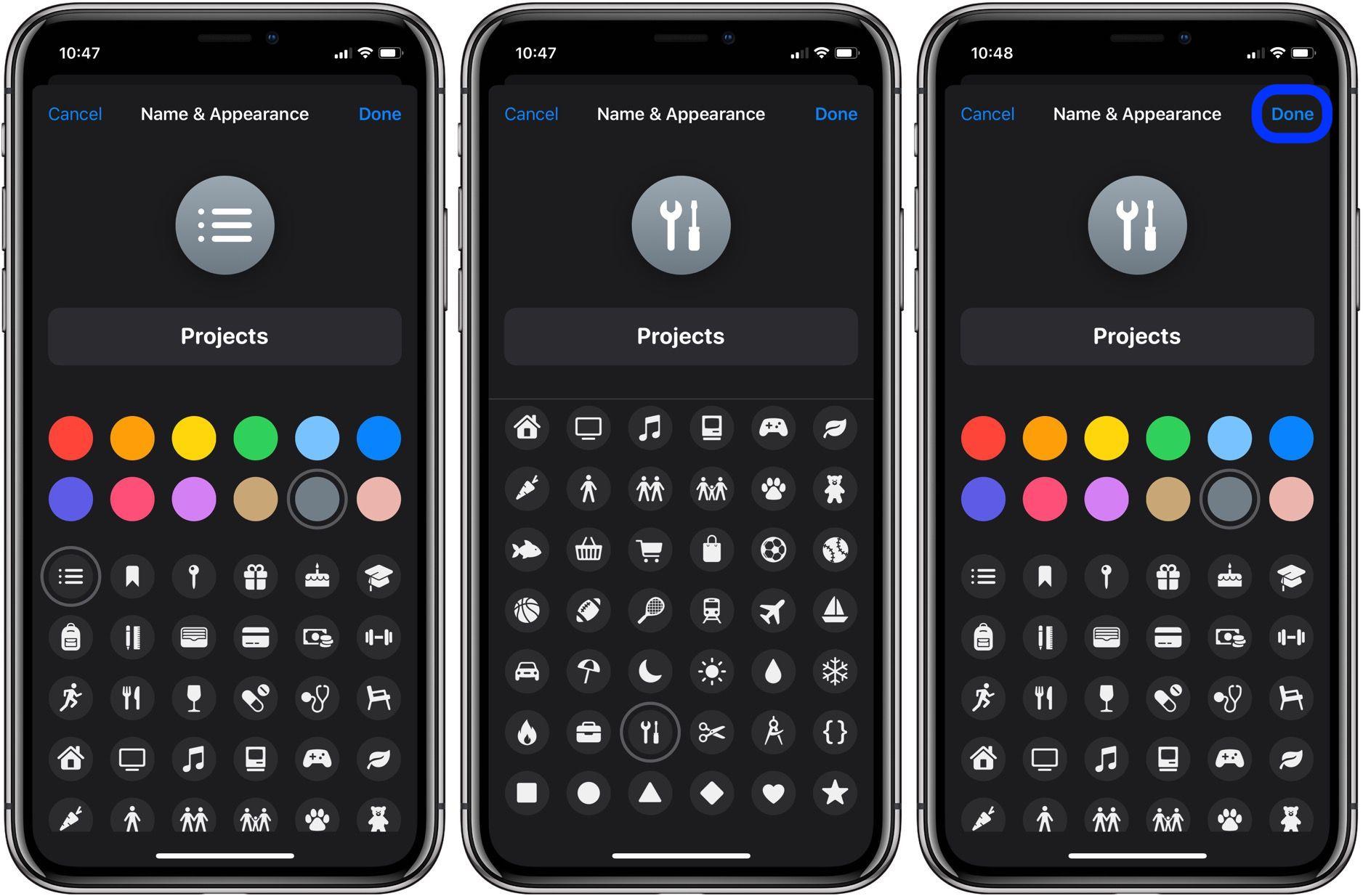 在 iPhone 或 iPad 上如何更改「提醒事项」列表的图标和颜色?