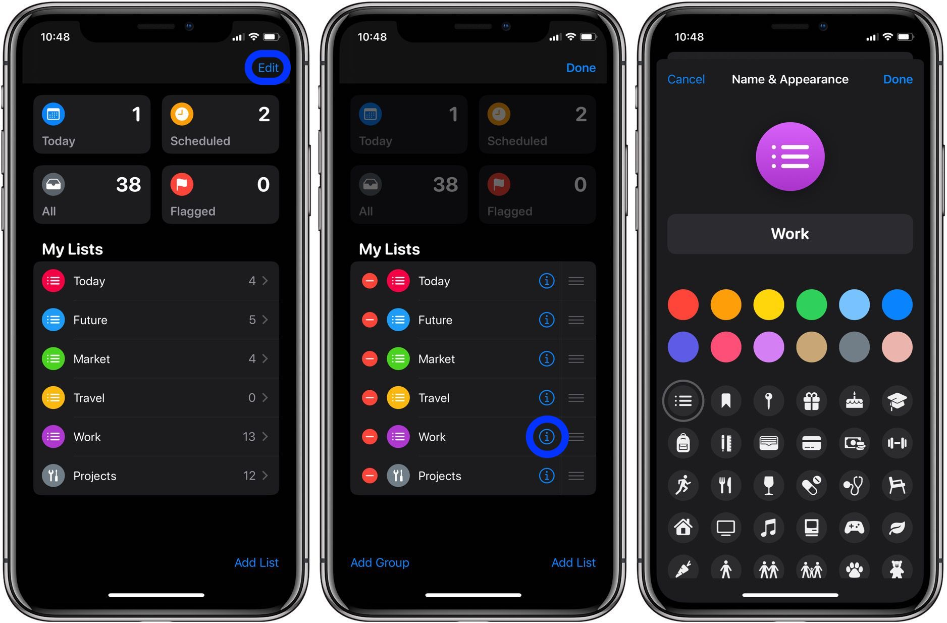 How to change icons and colors Reminders Lists iPhone iPad walkthrough 3