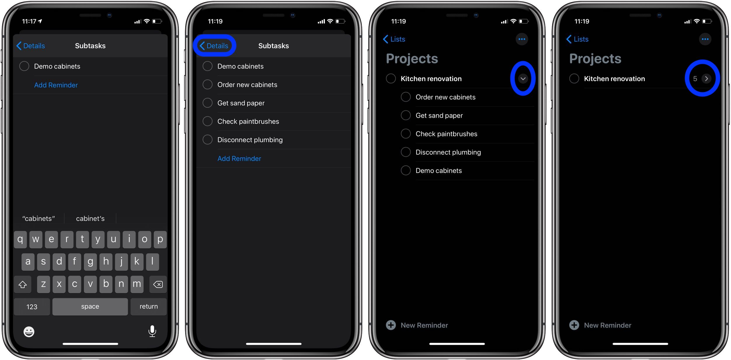 How to make subtasks Reminders iOS 13 macOS Catalina walkthrough 2
